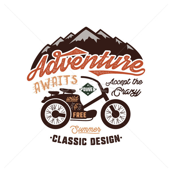 Vintage wanderlust hand drawn label design. Adventure Awaits sign and outdoor activity symbols - mou Stock photo © JeksonGraphics
