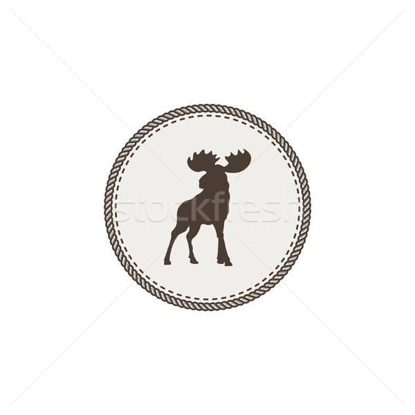 Alce ícone assinar preto cabeça belo Foto stock © JeksonGraphics
