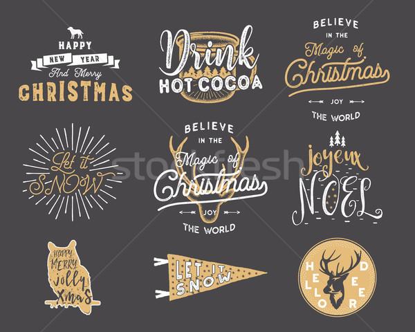 Groot vrolijk christmas typografie citaten wensen Stockfoto © JeksonGraphics