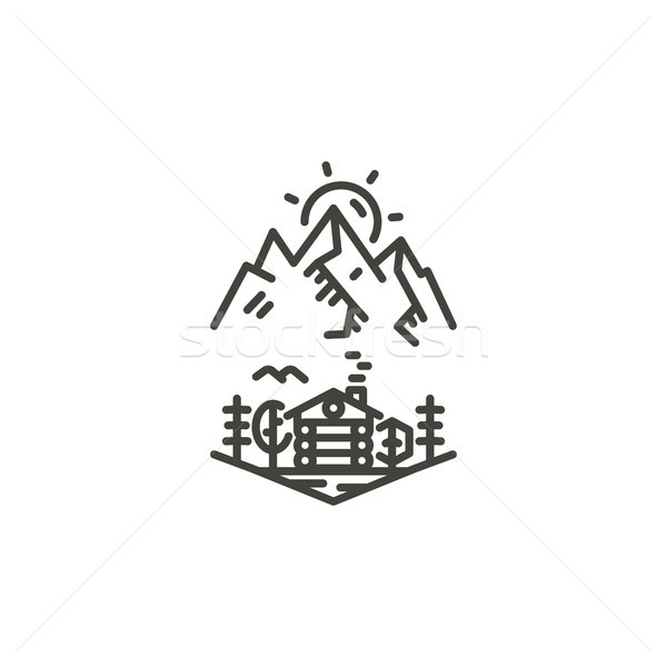 Vintage linear travel badge. Camping line art label concept. Mountain expedition logo design. Travel Stock photo © JeksonGraphics