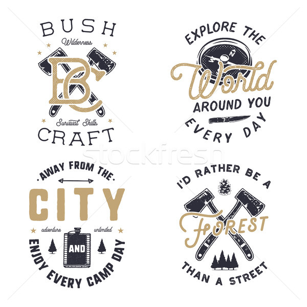 Vintage hand drawn travel logos and emblems set. Hiking labels. Outdoor adventure inspirational logo Stock photo © JeksonGraphics