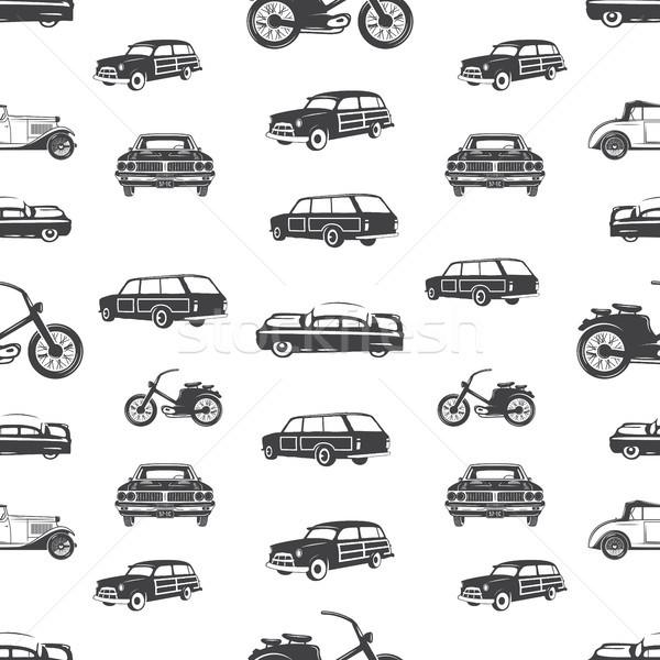 Surfing transport seamless pattern. Retro Surf car, motorcycle wallpaper background in monochrome st Stock photo © JeksonGraphics