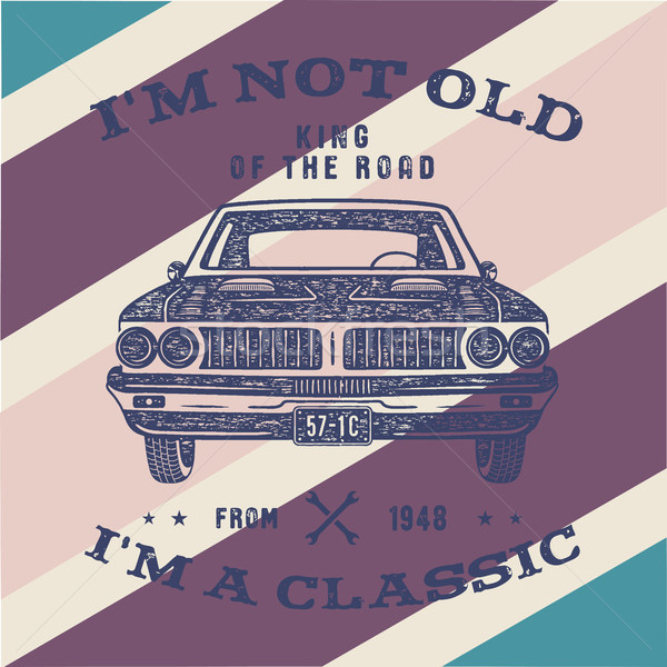 70 Birthday Anniversary Gift brochure. I m not Old I m a Classic, King of the Road words with classi Stock photo © JeksonGraphics