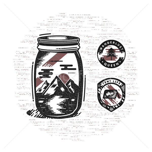 Vintage hand drawn camping badges and patches. Mountains and river in jar in retro textured style. A Stock photo © JeksonGraphics
