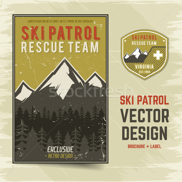 Ski patrol vector brochure and label. The camp concept of flyer for your business, web sites, presen Stock photo © JeksonGraphics