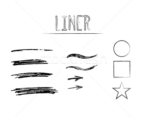 Set of Hand Drawn Doodle Sketchy Grunge Liner Brush Lines. Unusual design elements for your projects Stock photo © JeksonGraphics