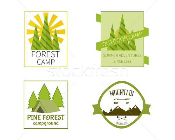 Outdoor Activity Travel Logo Vintage Labels design template. Forest holiday park, campground and cam Stock photo © JeksonGraphics