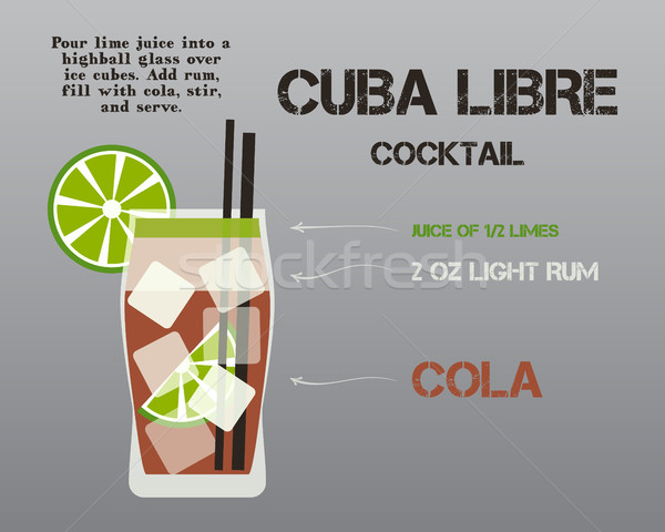 Cuba Libre cocktail with recipe and preparation text. Fresh Modern ice design. Isolated On stylish g Stock photo © JeksonGraphics