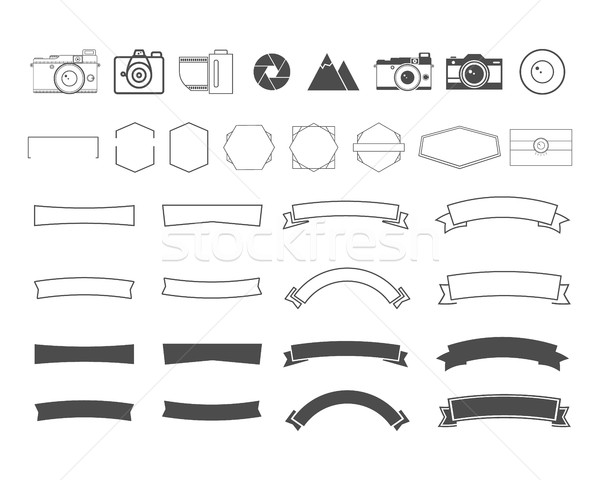 Photography vintage and retro symbols, ribbons, frames, elements. Make your own icons, badges, label Stock photo © JeksonGraphics