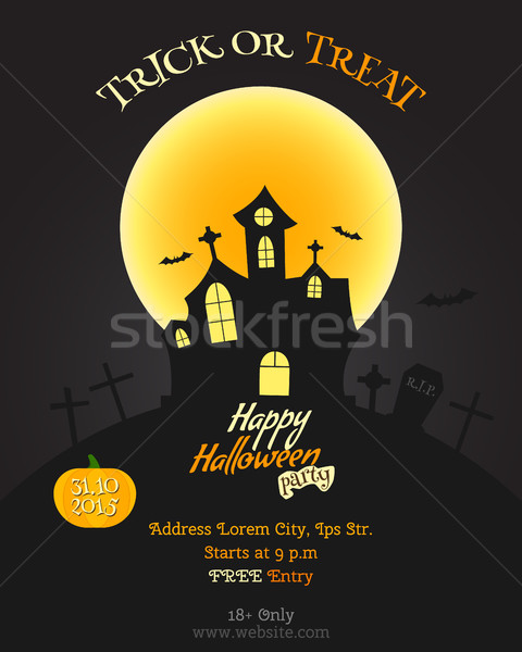 Happy Halloween party poster, flyer, banner. Celebration card. Trick or treat text. With pumpkin, ba Stock photo © JeksonGraphics