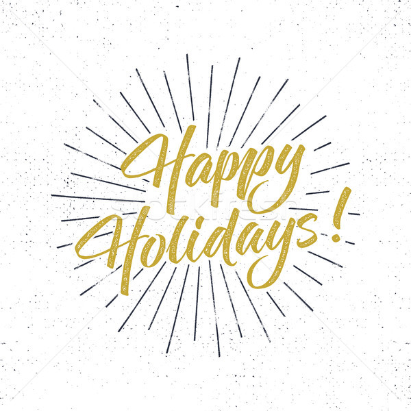 Happy Holidays text and lettering. Holiday typography Illustration. Letters with sun bursts and half Stock photo © JeksonGraphics