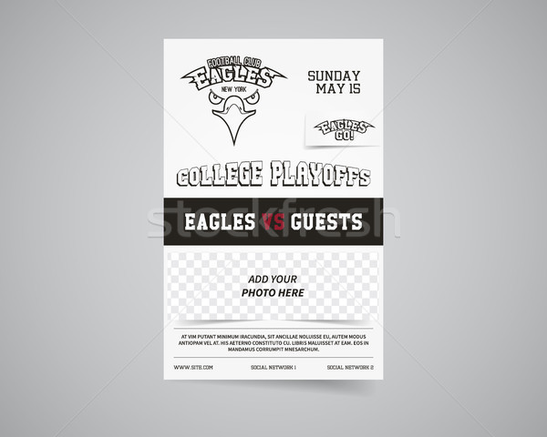 American football team back and front flyer template design. Usa Sport brand identity letterhead. Po Stock photo © JeksonGraphics