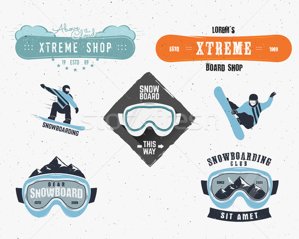 Set of Snowboarding extreme logo, label templates. Winter snowboard sport store badge. Emblem, icon. Stock photo © JeksonGraphics