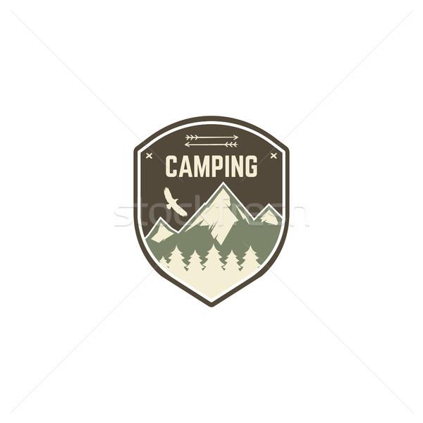 Stock fotó: Kempingezés · címke · klasszikus · hegy · tábor · felfedező