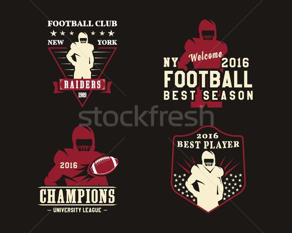 Foto stock: Americano · futbolista · equipo · insignias · logos