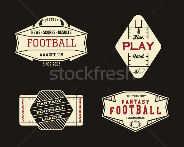 American football field geometric team or league badge, sport site logo, label, insignia set. Graphi Stock photo © JeksonGraphics