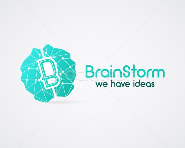 Beyin oluşturma fikir logo şablon Stok fotoğraf © JeksonGraphics