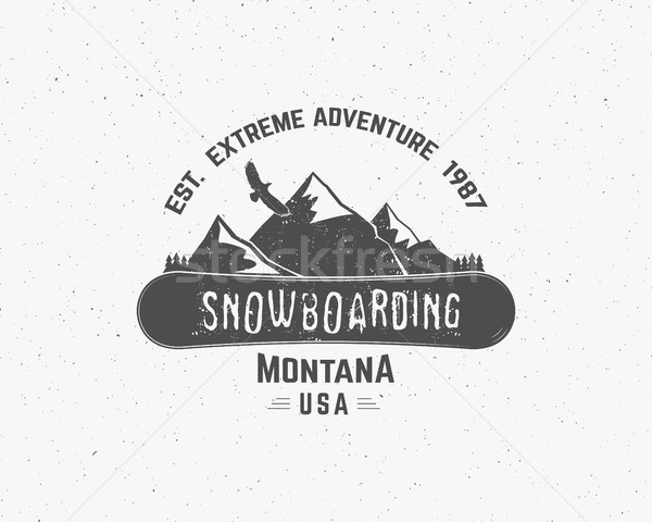 Snowboarding extreme logo, label templates. Winter snowboard sport store badge. Emblem and icon. Mou Stock photo © JeksonGraphics