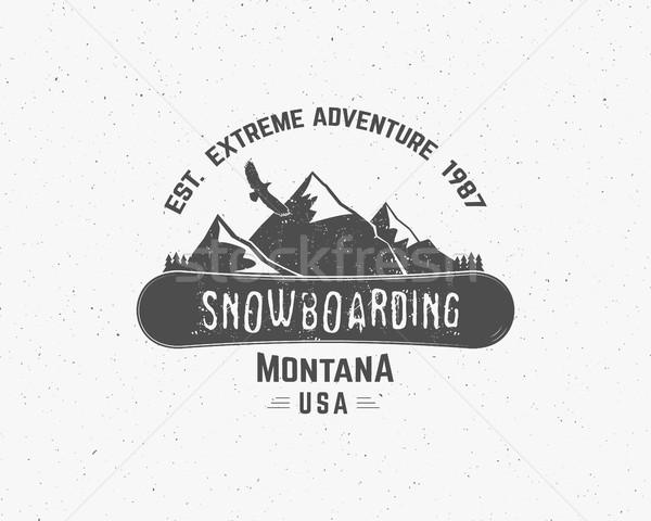 Snowboard extrême logo étiquette modèles hiver Photo stock © JeksonGraphics
