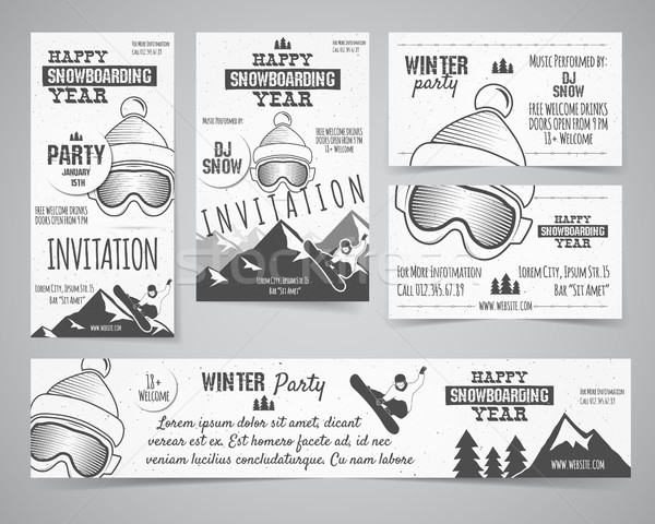 Set of Holiday Identity templates. Christmas banner, business card, flyer design with xmas symbols - Stock photo © JeksonGraphics