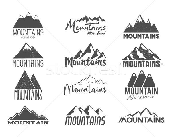 Szett kézzel rajzolt hegyek jelvények vadon öreg Stock fotó © JeksonGraphics