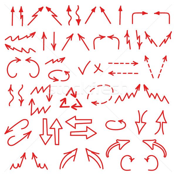 Hand drawn arrows icons set isolated on white background. Business charts, graphs, infographics Stock photo © JeksonGraphics
