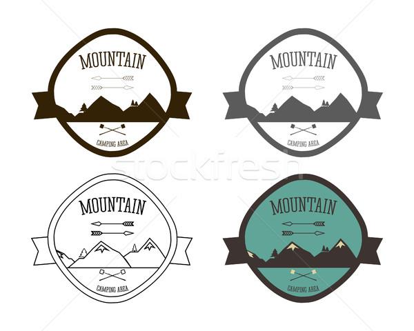 Stock fotó: Szett · hegy · táborhely · logo · sablonok · szabadtér