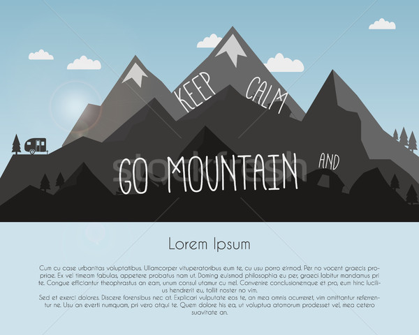 Go mountain concept design. Outdoor travel illustration with silhouette, tree, bike, tent and text.  Stock photo © JeksonGraphics