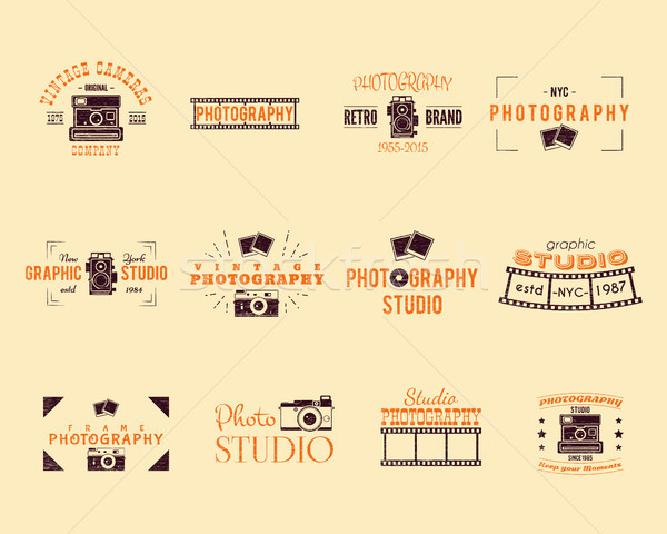 Vintage Textured Photography Badges, Labels. 2 Retro Colors design with stylish classic cameras and  Stock photo © JeksonGraphics