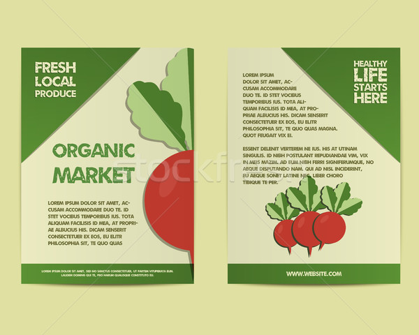 Summer Farm Fresh poster, template or brochure design with radish. Mock up design with shadow. Best  Stock photo © JeksonGraphics