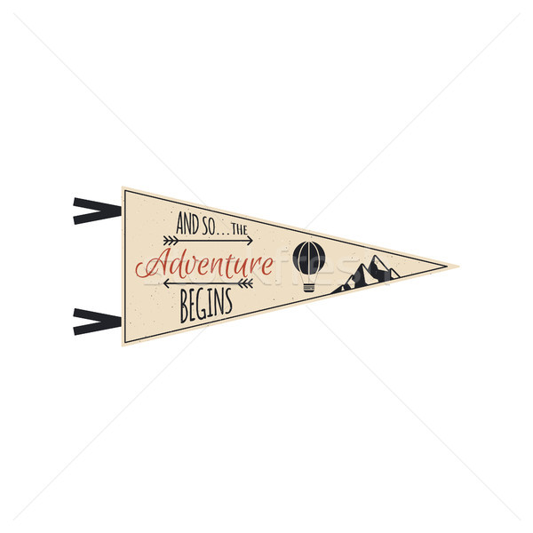 Adventure pennant. Vector Travel pennant design. Explorer flag template. Vintage camping layout. Cli Stock photo © JeksonGraphics