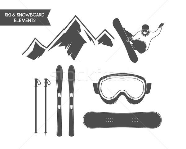 Winter sports elements. Snowboard, ski symbols. Outdoor adventure icon. Travel hand drawn and hipste Stock photo © JeksonGraphics