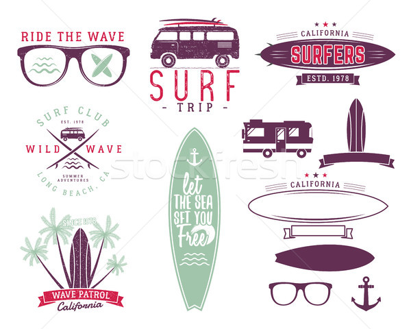 Set of Vintage Surfing Graphics and Emblems for web design or prints. Surfer, beach style logo desig Stock photo © JeksonGraphics