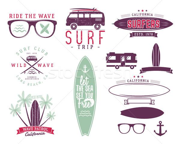 Ingesteld vintage surfen graphics web design surfer Stockfoto © JeksonGraphics