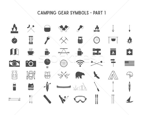 Set of Vector silhouette icons and shapes with different outdoor gear, camping symbols for creating  Stock photo © JeksonGraphics