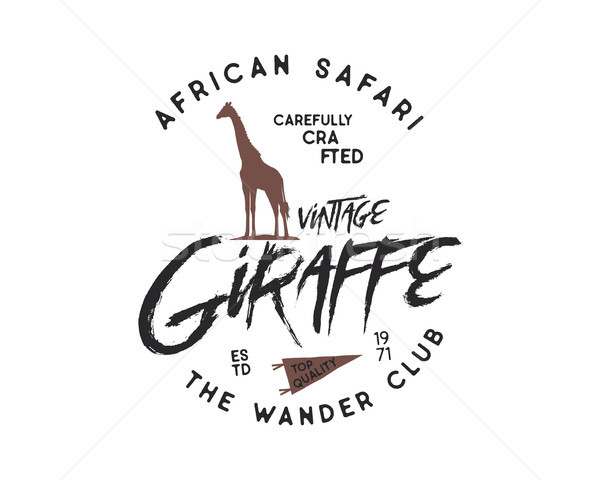 Giraffe badge. Typography design. Vector isolated on white background. retro insignia Stock photo © JeksonGraphics