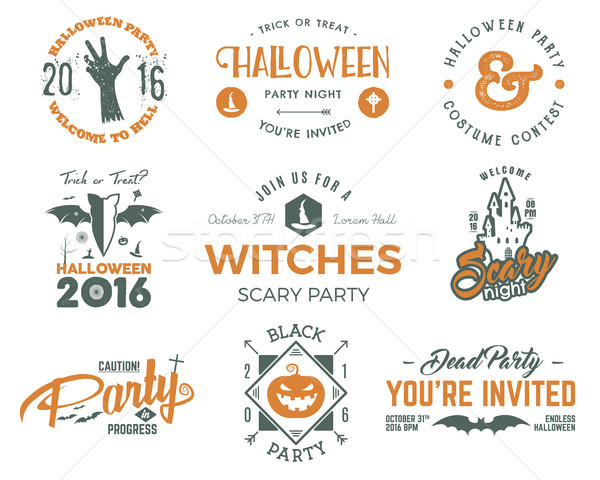 Halloween 2016 party labels templates with scary symbols - zombie hand, witch hat, bat, pumpkin and  Stock photo © JeksonGraphics