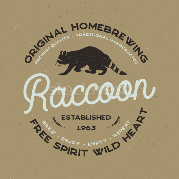 Wild animal badge with Raccoon and typography elements. Beer Logo templates for brewing company. Sto Stock photo © JeksonGraphics