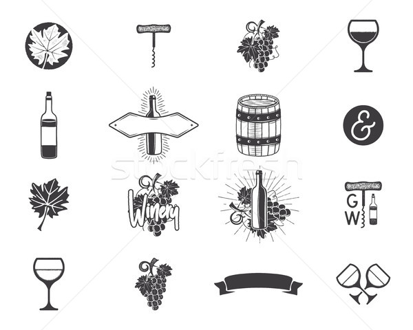 Wine production icons set. Winery, wine shop, vineyards badges collection. Retro Drink symbols. Mono Stock photo © JeksonGraphics