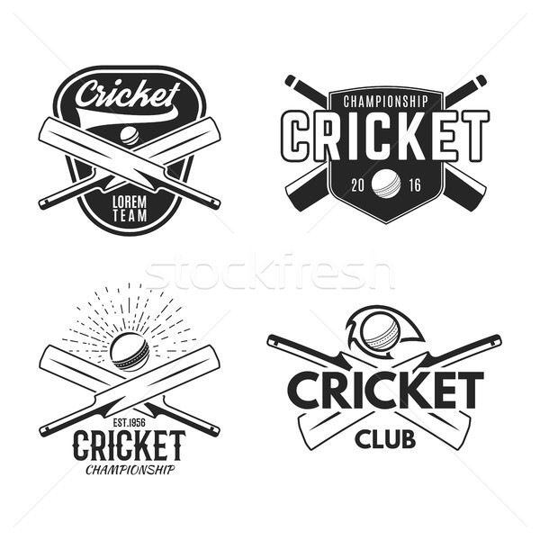 крикет логотип набор спортивных шаблон Элементы Сток-фото © JeksonGraphics
