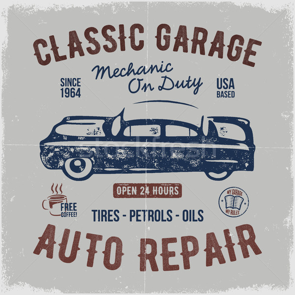 Vintage hand drawn auto repair t shirt design. Classic car poster with typography. Auto industry tee Stock photo © JeksonGraphics