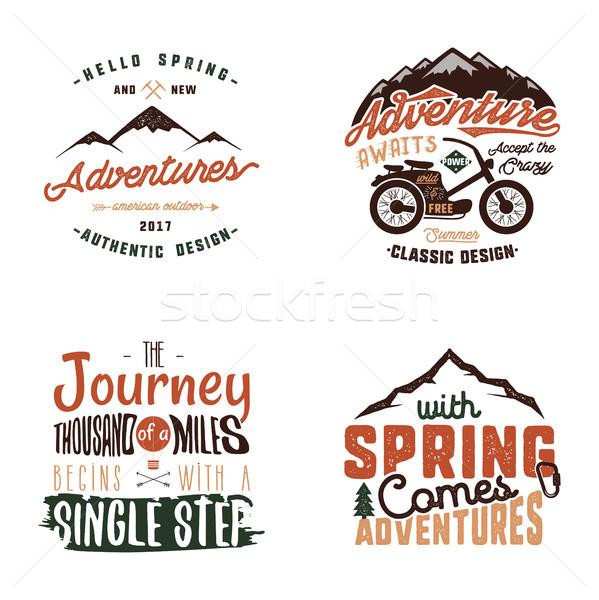 Vintage adventure tee shirts designs, summer logo set. Hand drawn travel labels. Mountain explorer,  Stock photo © JeksonGraphics