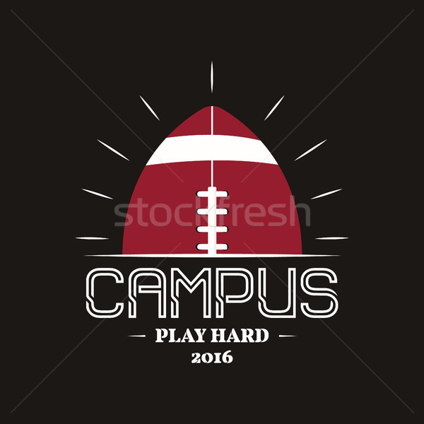 American football campus logotype, emblem, label, insignia in retro color style. Graphic vintage log Stock photo © JeksonGraphics