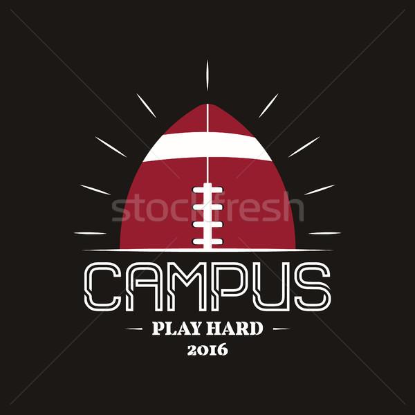 Amerikai futball kampusz logotípus embléma címke Stock fotó © JeksonGraphics