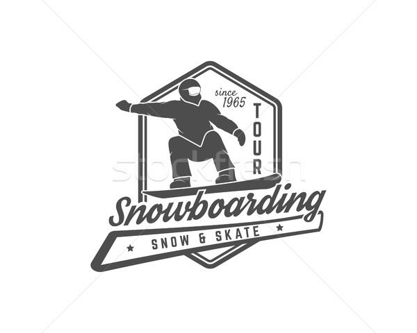 Snowboard logo címke sablon téli sport kitűző Stock fotó © JeksonGraphics