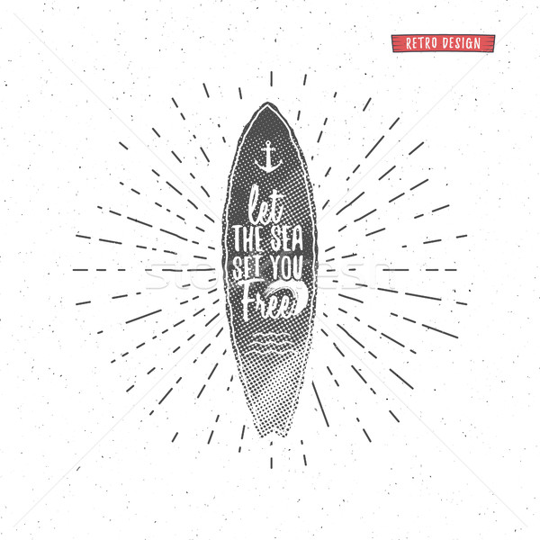Vintage Surfing Graphics and Poster for web design or print. Surfer, beach style lettering. Surf typ Stock photo © JeksonGraphics