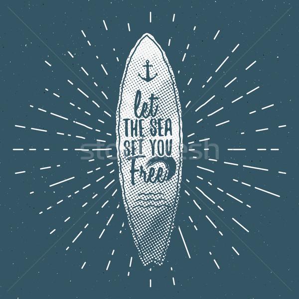 Klasszikus szörfözik grafika poszter web design nyomtatott Stock fotó © JeksonGraphics