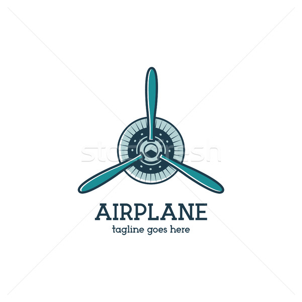 Stock photo: Airplane propeller logo template with radial engine. Retro Plane badge. Flat design for prints on t