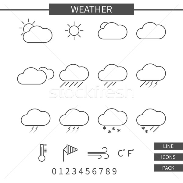 Weather line icons set. Monochrome thin line elements isolate on white background. Minimalistic line Stock photo © JeksonGraphics