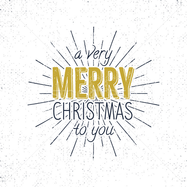 Merry Christmas to you typography sign, holiday wish, saying and vintage label. Season's greetings c Stock photo © JeksonGraphics